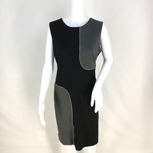 Black & Gray Color Block Zipper Dress